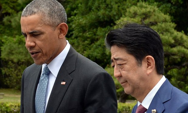 Barack Obama and Japanese prime minister Shinzo Abe at the G7 summit in Japan. Photograph: Reuters