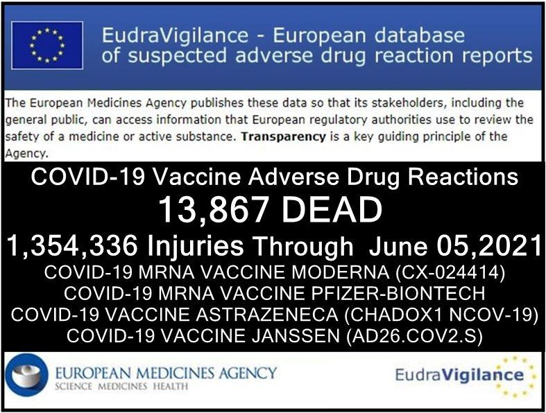 Worldwide Genocide Continues: 13,867 DEAD and 1,354,336 Injuries in European Database of Adverse Drug Reactions for COVID-19 Shots